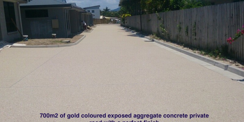 700m2 of gold-coloured exposed aggregate concrete private road. Concreting by Shane Palmer.