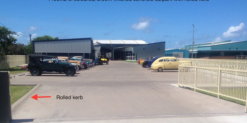 1400m2 coloured, broom-finished concrete carpark with rolled kerb. Concreting by Shane Palmer.