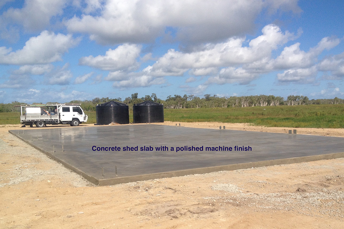 288m2 concrete slab for a shed. Concreting by Shane Palmer.